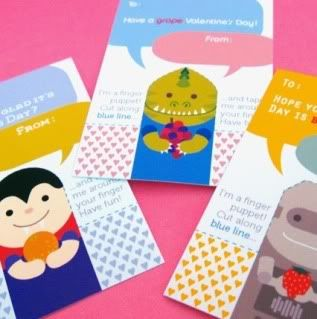 Ooh! Printable finger puppet valentines! Adorable!!