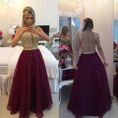 Apliques de ouro Rendas Borgonha Prom 2016 Sheer Tulle Até O Chão Vestido de Formatura Longo Vestido De Festa China ED181