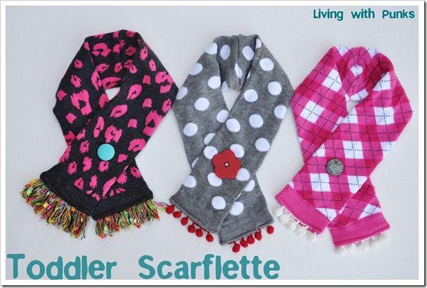toddler scarflette tutorial: Toddlers Scarflette, Sewing, Little Girls, Gift Ideas, Cute Ideas, Knee Socks, Scarves, Knee Highs, Knee High Socks