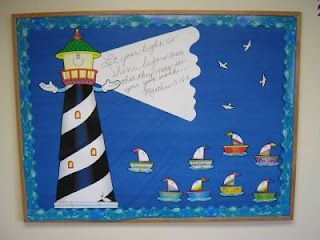 "Christian Bulletin Boards - ""One of our Sunday school teachers did this fun board. She was pretty excited to find the lighthouse, and wave border at our local education store in the clearance section. She often uses plastic table cloths as backgrounds which gives a variety of bright color at a great price. You can see, she hand wrote the verse Matthew 5:16 and then wrote the names of the children on the sailboats."""