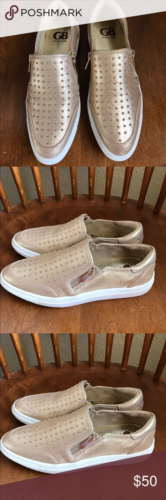 🌸Gianni Bini🌸 NWOT Gianni Bini gold studded sneakers with zippers. Gianni Bini Shoes Sneakers