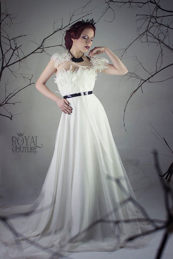 I'd love for a dress like this if I did have a theme that would encourage this :D >>> wedding gown THE SWAN DRESS bridal dress ivory by CostureroReal