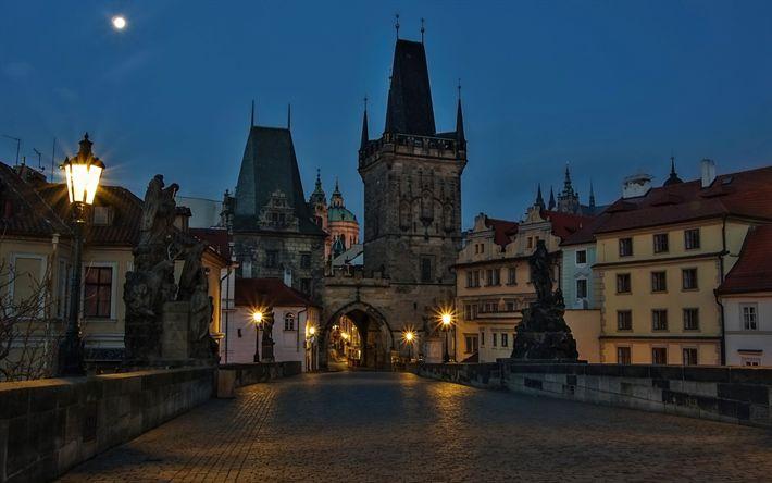 Download wallpapers Charles Bridge, Prague, cityscape, old city, city lights, Czech Republic, moon