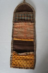 C. 1840 antique blue and brown calico sewing roll
