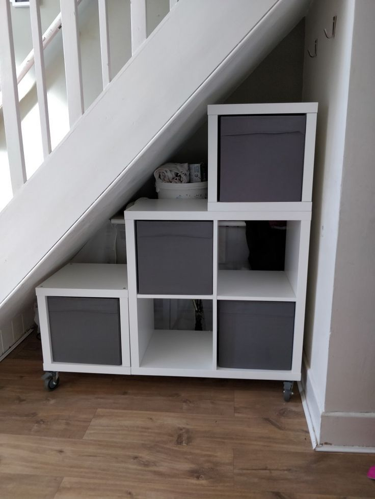 Movable Understairs Storage Ikea Kallax Units Casters From Screwfix And Bracke Ikea Under Stairs Diy Understairs Storage Staircase Storage