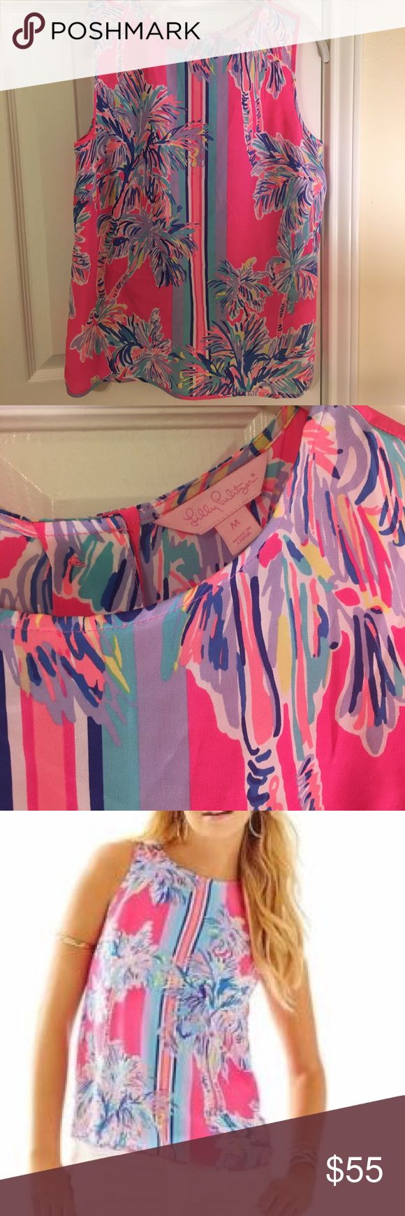 NWOT Lilly Pulitzer Iona Sleeveless Silk Shell Top NWOT Lilly Pulitzer Iona Sleeveless Silk shell top, Flamingo Pink, Size M. Never been worn! Great condition and amazing bright colors. Lilly Pulitzer Tops