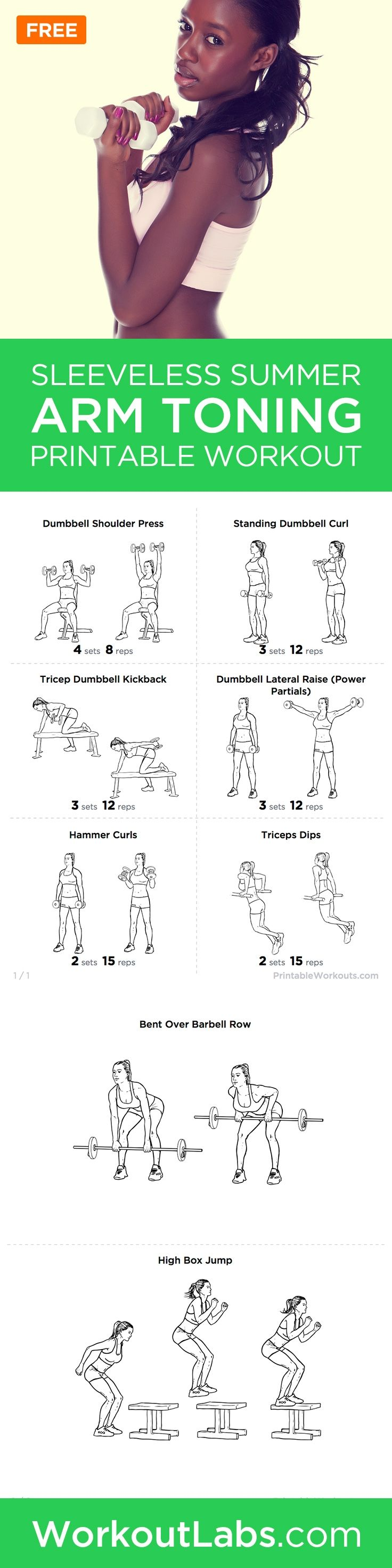 Summer Sleeveless Arms 15-minute Toning Printable Workout #weightlossrecipes