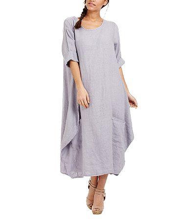 Look what I found on #zulily! Grey Oversize Linen Scoop Neck Dress #zulilyfinds