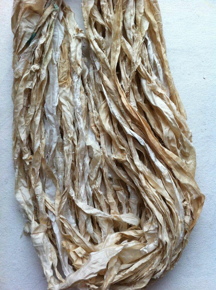 Recycled sari silk ribbon, 50g, tea stained ivory Sari Silk Yarn, Eco Friendly,