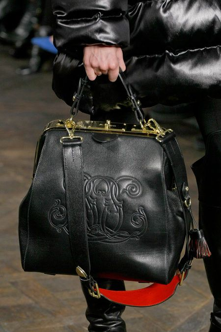 Bag. Black. Red. Golden. Ralph Lauren Fall 2013.