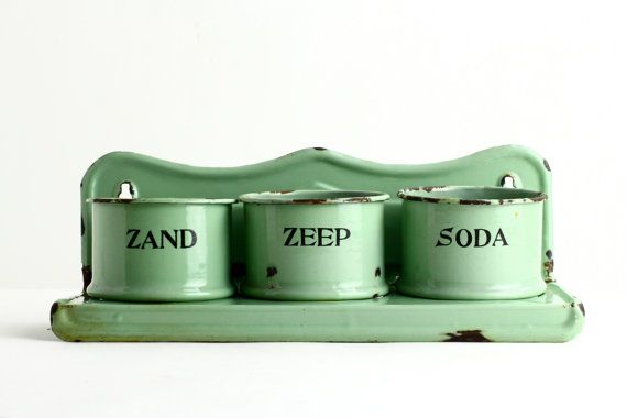 A rare vintage enamel soap or laundry rack dating from the 1920s. These would have hung in kitchens and laundry rooms and would have held the