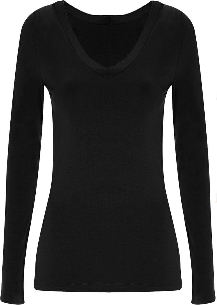 black long sleeve plain shirt | ... Long Sleeve Stretch Top Plus Size Womens Plain T-shirt 16 - 20 | eBay