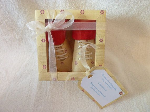 Hand made newborn baby boy gift booties and socks by TottieTootles, £8.99