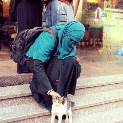 Muslimah with a kitty