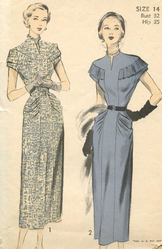 Awesome pocket detailing 1940s Vintage Sewing Pattern Advance 5175
