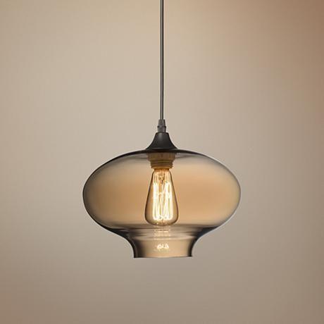 "Possini Euro Engels 10 1/2"" Wide Amber Glass Pendant Light"