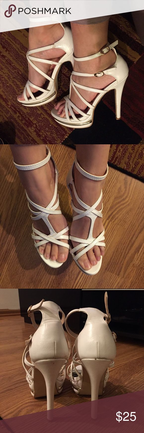 Fair Lady White Strappy Platform Sandals Heels These have been worn once to a wedding and have marks just on the back of the top of the heels * Very good condition heels * 5 inch heels with 1.5 inch platforms * EU size 38 and they fit me as I am a 7.5 US * Fair Lady Shoes Heels