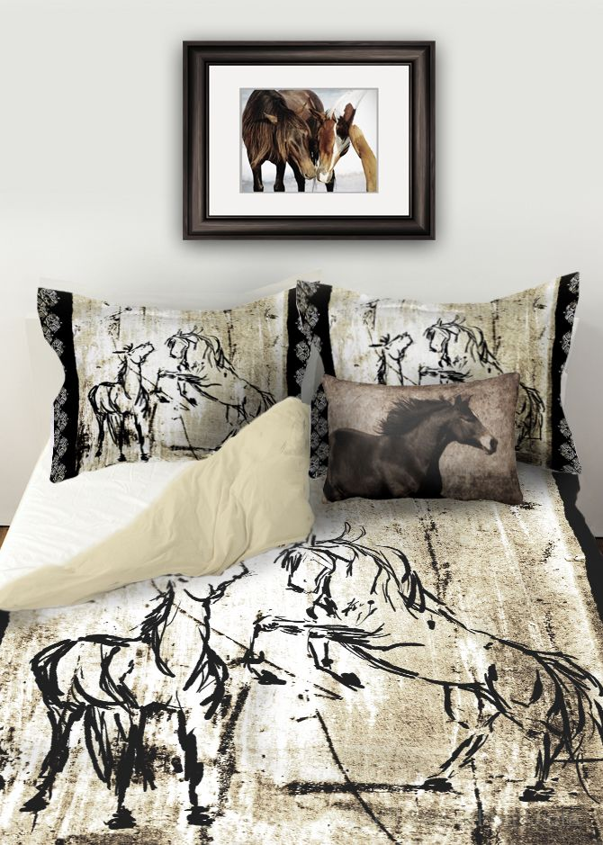 Equestrian DUVET BED SET - rustic rearing horses in black and ivory colors with matching pillow  shams. Available in twin, queen, and king sizes. This is such a stylish horse lover's bedding set for bedroom decor! Love it!