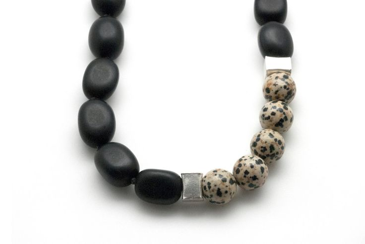 Black Onyx Necklace, Dalmatian Jasper Bold Necklace, Architectural & Minimalist Necklace, Statement Necklace, Unique Necklace Gift for Her - pinned by pin4etsy.com