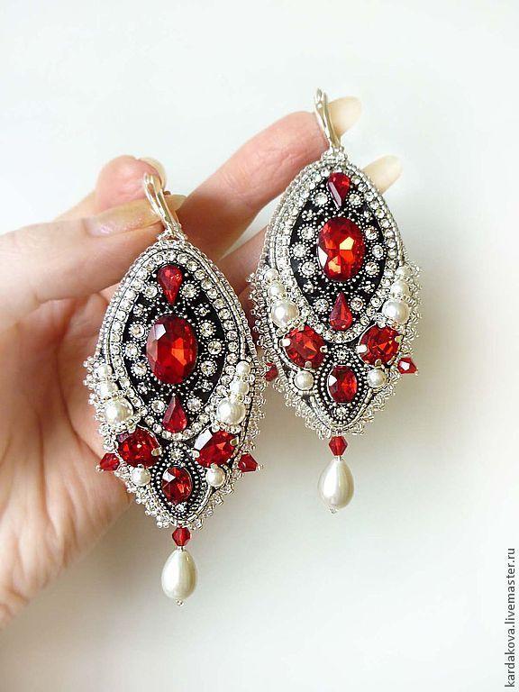 """Купить Крупные серьги """"Passion"""" - ярко-красный, бисер японский, стразы, кристаллы, красные камни"""