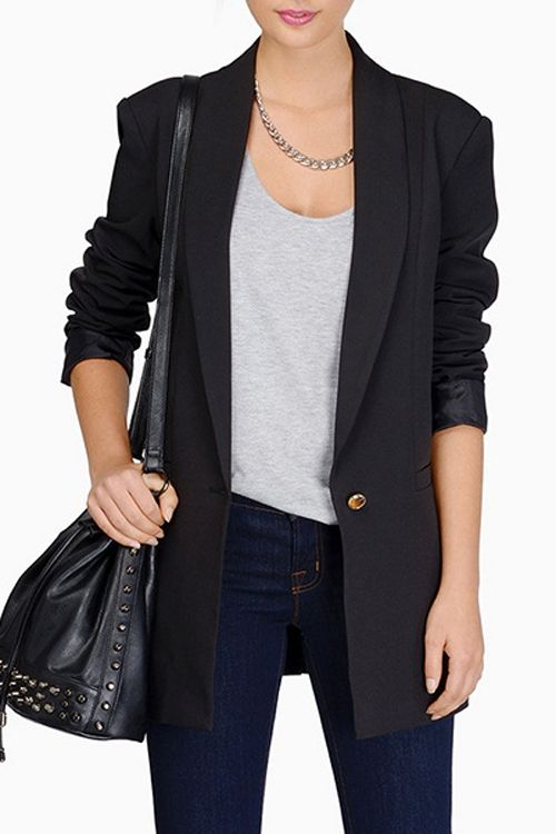 Shawl Collar Candy Color Long Sleeve Blazer