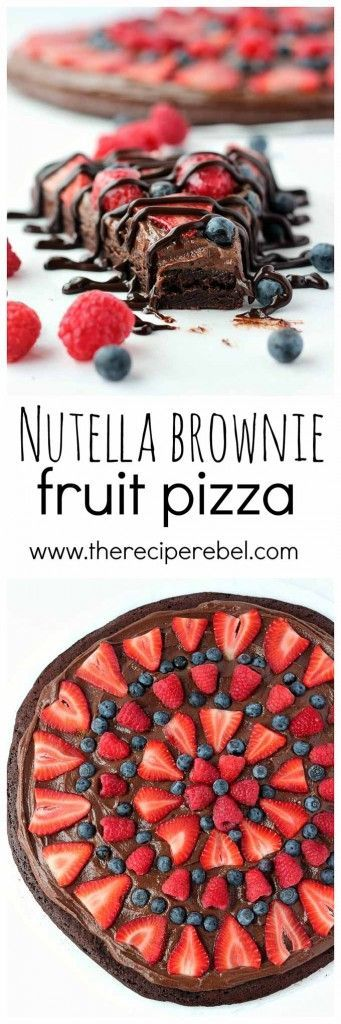 Nutella Brownie Fruit Pizza: a Nutella and cream cheese filling on a fudgy brownie base, topped with tons of fresh berries! Chocolate fruit pizza is the best kind! www.thereciperebel.com