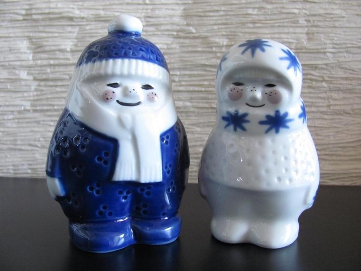 Vintage Porsgrund Norway Blue and White Winter Boy and Girl. $43.00, via Etsy.