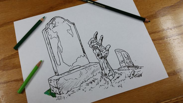 Items similar to Graveyard Zombie Tattoo Flash Coloring Book Page on ...