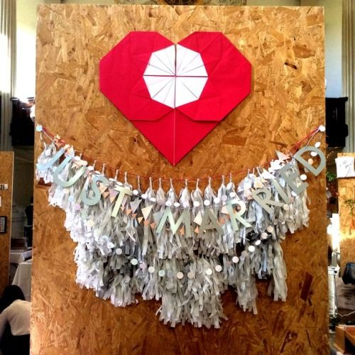 Origami heart ~ tassel garland ~ Delysia garland JUST MARRIED Luxury handmade wedding decor by Paper Street Dolls  Check out our store - paperstreetdolls.etsy.com