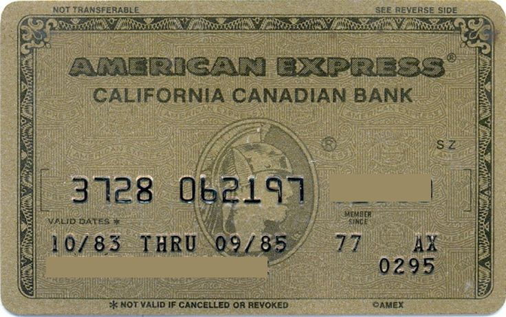 American Express California Canadian Bank Gold (American Express, United States of America) Col:US-AE-0062