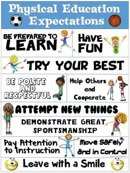 SUMS UP WHAT WE WANT FROM OUR PE STUDENTS IN ONE GLANCE!!!This colorful Physical Education Expectations Poster identifies 10 important outcomes that we as teachers expect from our students during our daily PE classes. The statements are brief, yet POWERFUL!