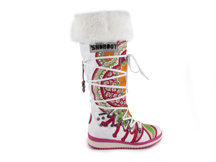 Snoboot - Luxusní módní sněhule Mutant High Tattoo Colour / bílá