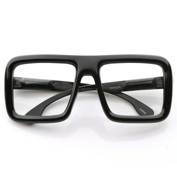 c08bdc16b0 Oversize Square Block Thick Frame Clear Lens Glasses 8548