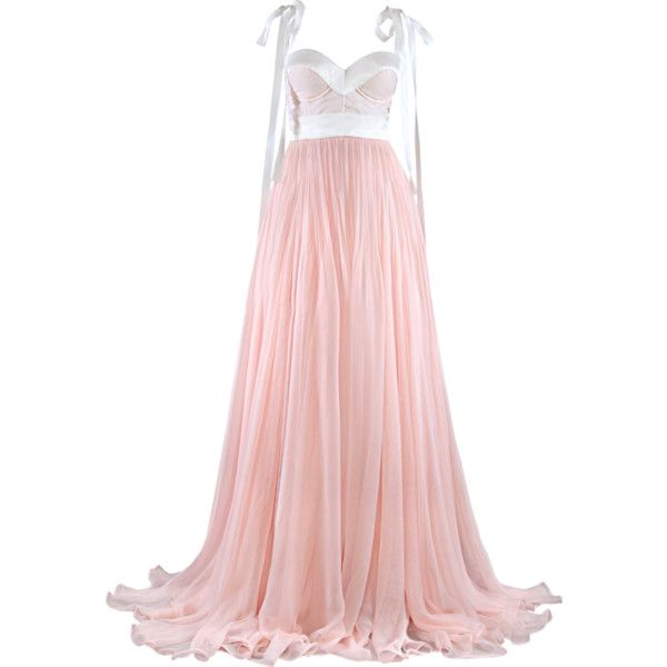 Satinee's collection - Maria Lucia Hohan ❤ liked on Polyvore featuring dresses, gowns, vestidos, long dresses, long pink dress, maria lucia hohan, pink evening gowns and maria lucia hohan gown