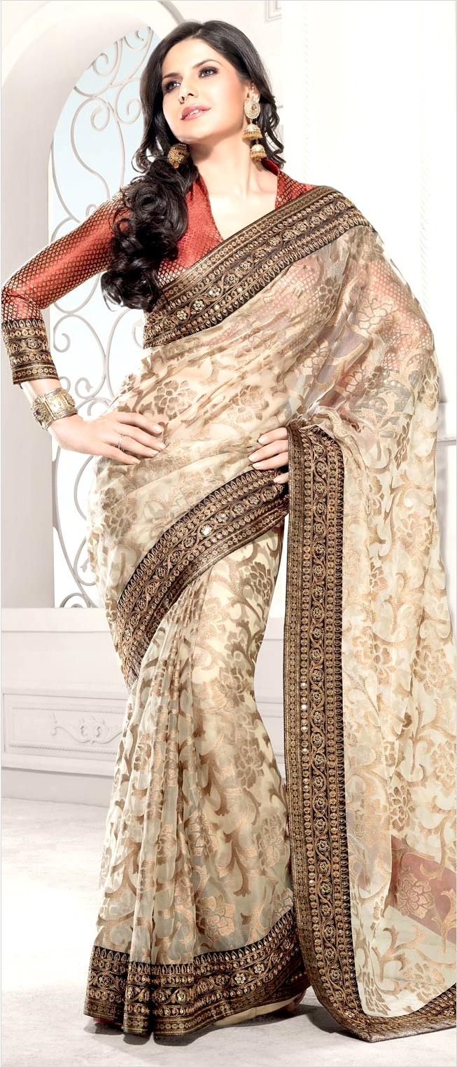 Sarees, Light Fawn Tissue Saree With Blouse by #Utsavfashion | $115.08