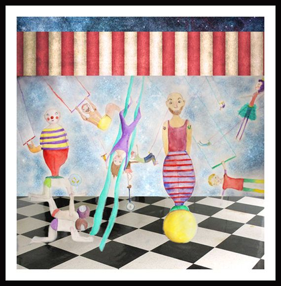 Circus painting art mixed media painting by NataliesWunderland