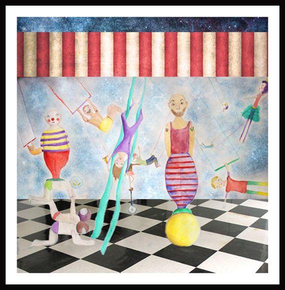Circus painting art mixed media painting by NataliesWunderland