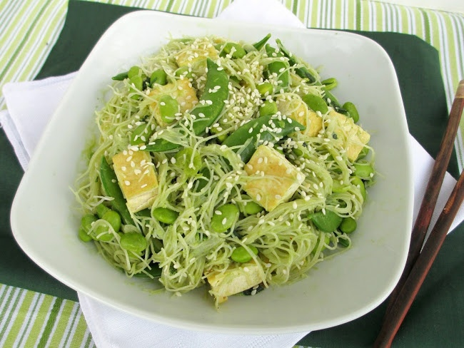 What is this scrumptious, noodle-y greenery? Just a Green Vermicelli Noodle Bowl with Tofu.