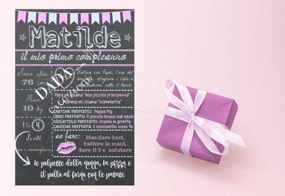 Poster sfondo effetto lavagna 'Il mio compleanno
