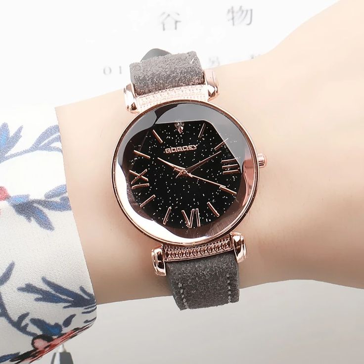 Fashion Dress Ladies Watch Rose gold Starry Sky Dial Leather Strap Qua – Benovafashion