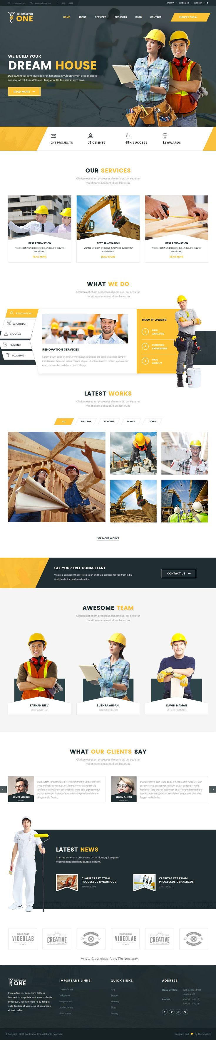 Constractor One Construction & Home Renovation HTML5 bootstrap Template download now.