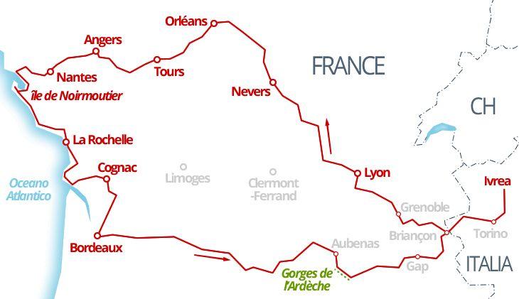 3100 km - La valle della Loira, la costa sull'Oceano Atlantico e le Gorges de l'Ardèche