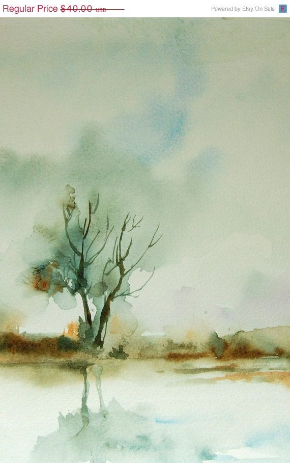 HOLIDAY SALE Autumn Landscape Watercolor Painting Art Print 12x18 #bestofEtsy #gifts