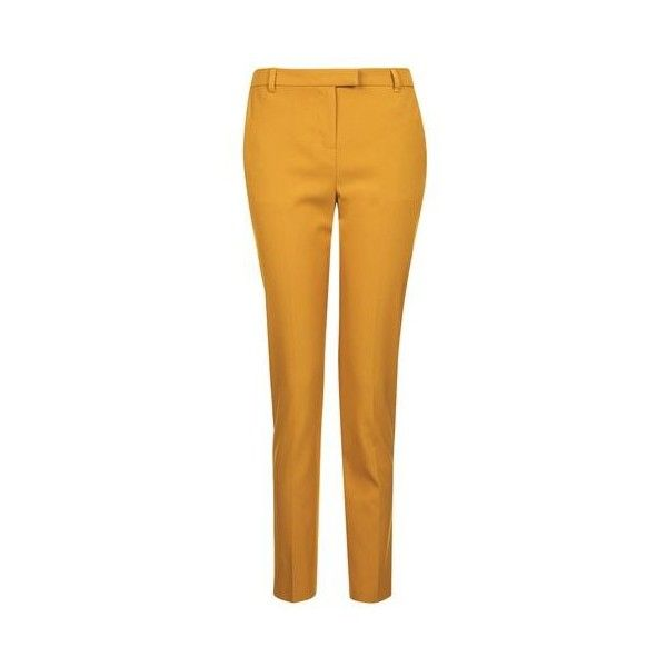 TopShop Cigarette Trousers (2.020 RUB) ❤ liked on Polyvore featuring pants, mustard, topshop pants, yellow pants, high waisted cigarette trousers, tailored pants and cigarette trousers
