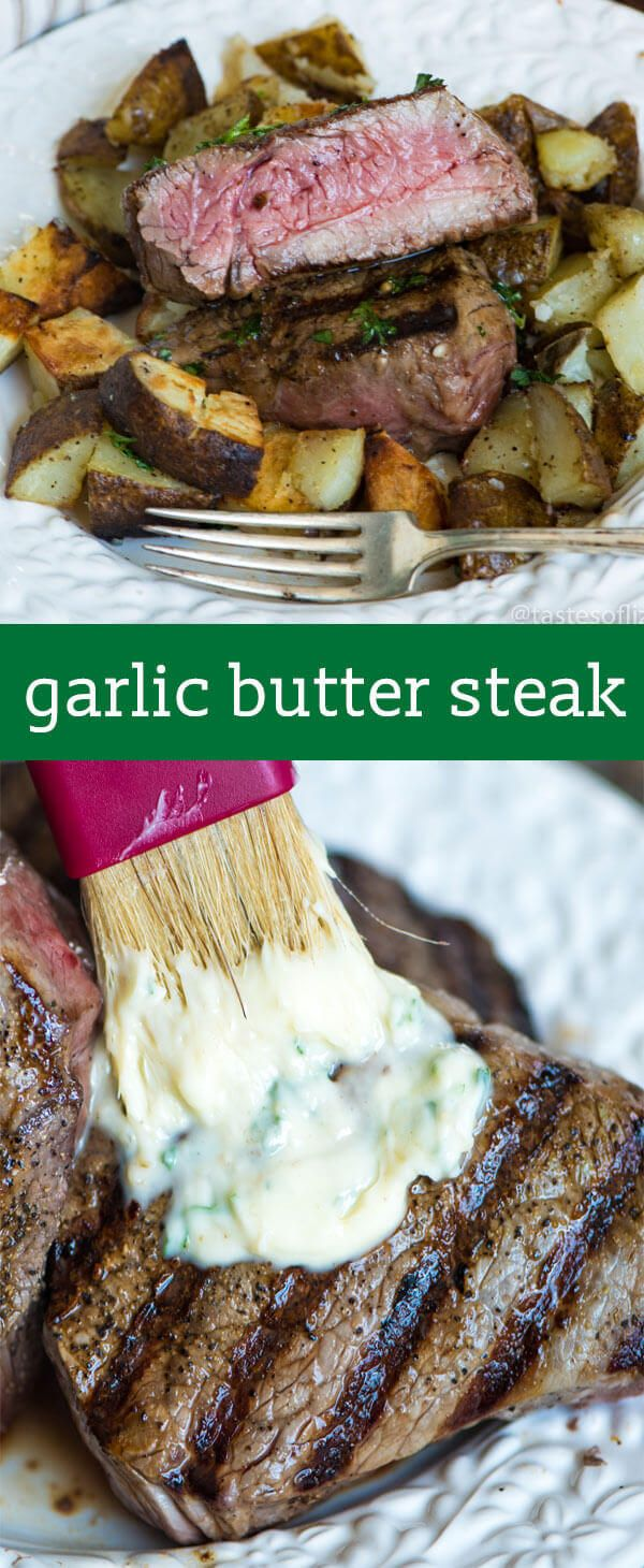You've never had a steak like this! A homemade savory seasoned butter makes this Garlic Butter Steak melt in your mouth. Find tips for grilling the best steak ever. Garlic Butter Steak Recipe {Hints for The Best Steak Cuts and Grilling Temperatures}     via @tastesoflizzyt