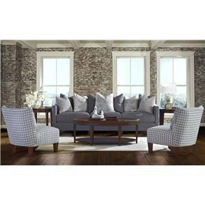 Klaussner Jordan Large 3 Cushion Tuxedo Arm Sofa With Pillow Backs   Miller  Brothers Furniture