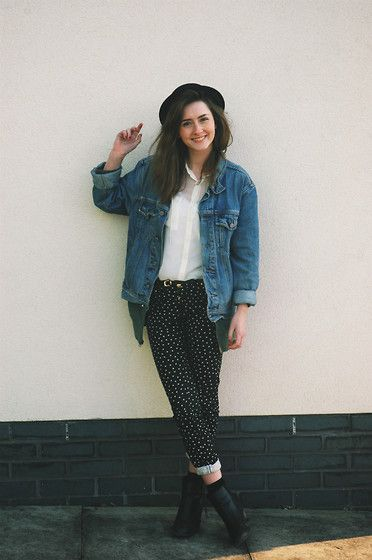 Primark Black And White Polka Dot Jeans, Calvin Klein Denim Jacket, H&M White Sheer Shirt, Primark Black Mid Heel Boots, H&M Black Bowler Hat, Target Simple Green Hoodie