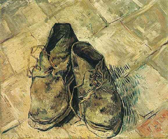 Vincent van Gogh: A Pair of Shoes. Oil on canvas. Arles: August, 1888.  New York: Metropolitan Museum of Art.