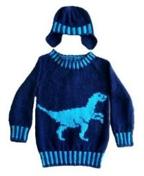 A sweater and hat perfect for a dinosaur-mad youngster. Pattern is for ages 4-13 years. Round neck Aran Sweater and matching Hat. The sweater features a dinosaur (Velociraptor) on the front and ribs...