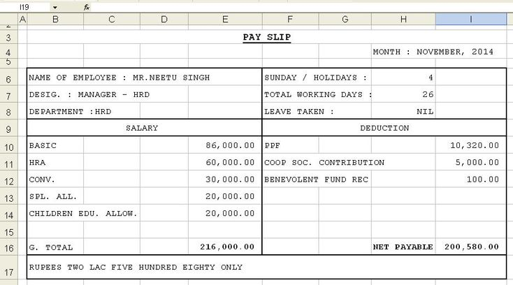 Get Salary Slip Format In Excel Microsoft Excel Templates Excel
